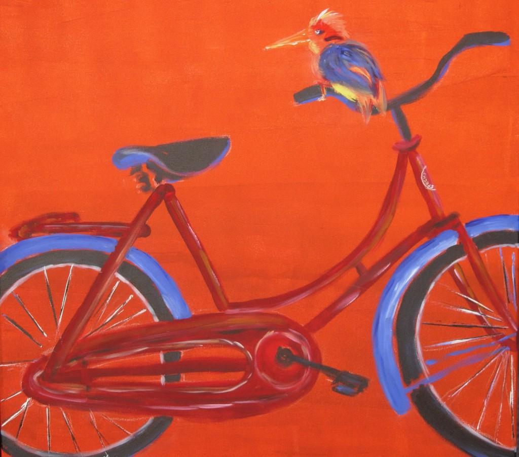 Specht auf Fahrrad